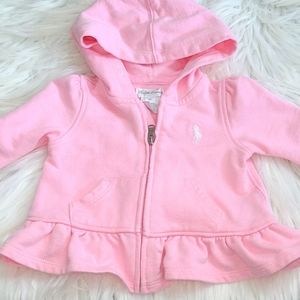 RL babygirl peplum hoodes sweater- 6mths